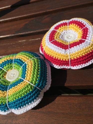 Crochet pin cushions