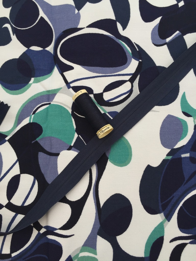 Blue/Turquoise/Cream Stretch Cotton Canvas Designer Dress Fabric