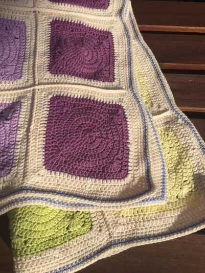 Cotton circles within squares crochet blanket