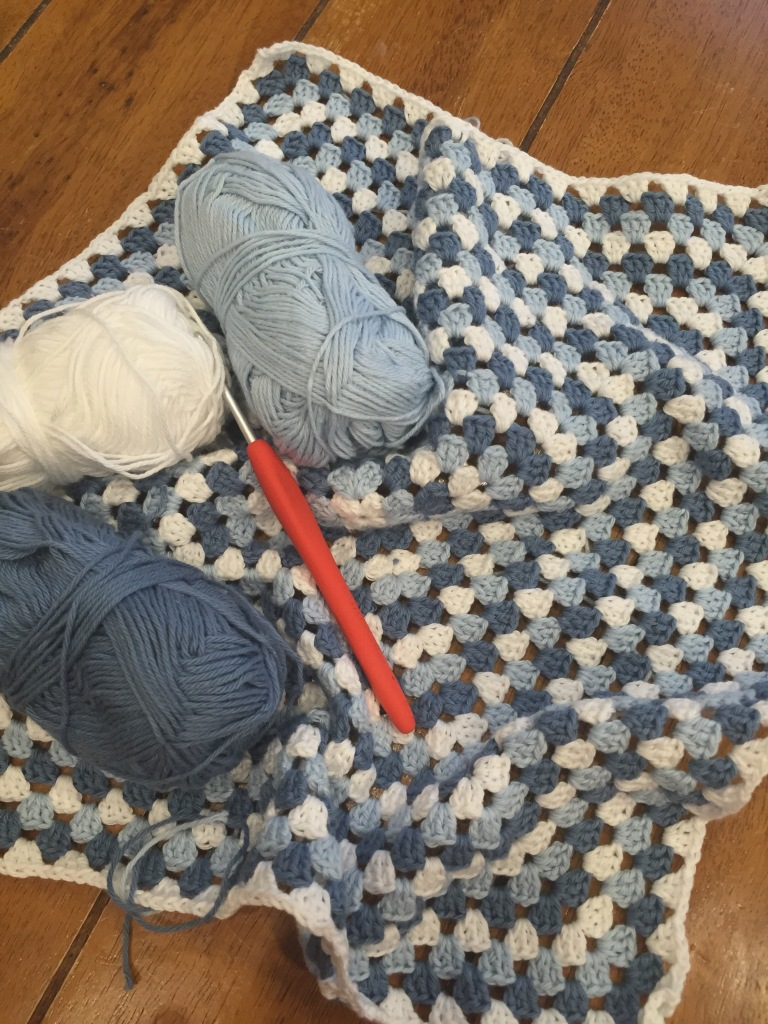 Cotton granny square crochet blanket