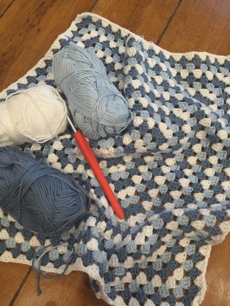 Cotton granny square crochet blanket