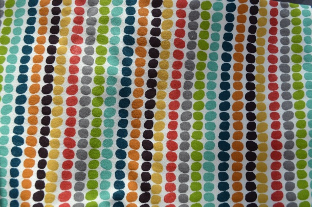 Cream colorful 'Serengeti' dot stripe birch knit organic fabric USA