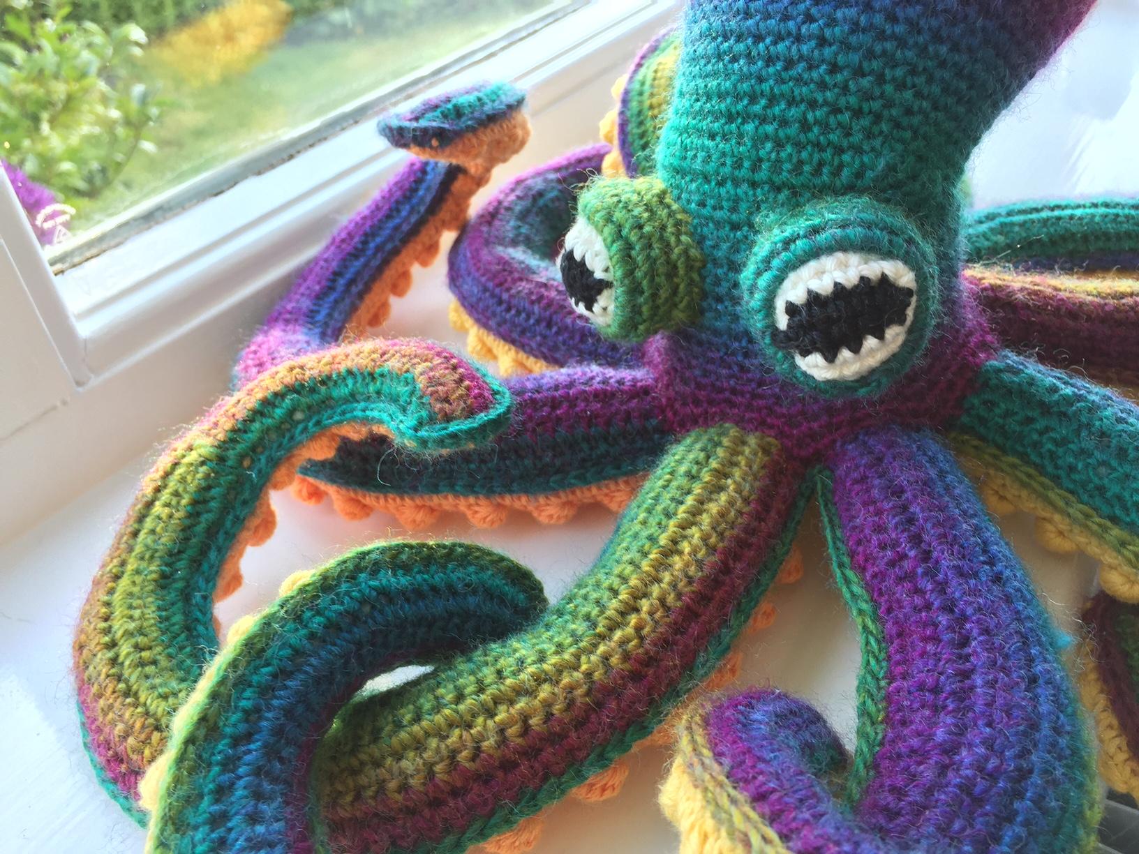 Crochet octopus close up