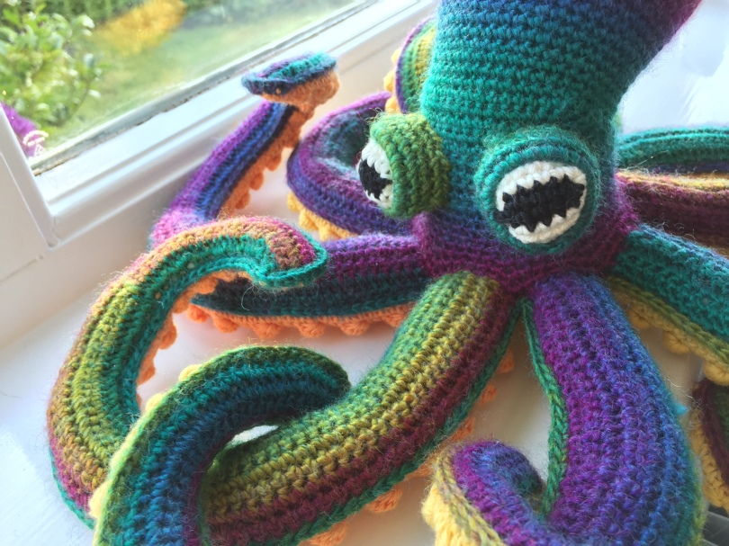 Crochet octopus close up