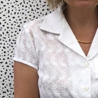Embroidered boxy blouse